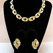 SALE 50% OFF~Vintage Necklace & Earrings Set Double Leaf Weighty~UNWORN