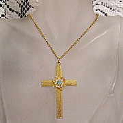 SALE 50% OFF~Vintage Rhinestone Cross Pendant Necklace~UNWORN