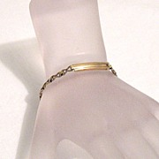 SALE 50% OFF~Vintage 12KGF Signet Bar Bracelet Petite or Childrens~Hand Crafted~Fleur de Lis