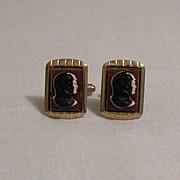 SALE 50% OFF~Art Deco Vintage Roman Double Headed Cameo Cuff Link