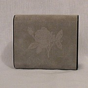 50% OFF~Vintage Rose Embossed Grey Velvet Jewelry Casket/Travel Case Signed Design Philipp Great Britain~Original Tag~Unused
