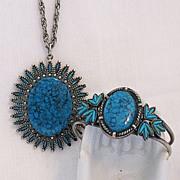SALE Rare Vintage Signed JJ Star Burst  Necklace & Bracelet Set Santa Fe Line