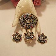SALE 50% OFF~Rare Vintage Florenza Rose Parure Brooch Ring Earrings