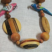 SALE 50% OFF~Fabulous Vintage Unusual Laminated Wood Parrot Necklace