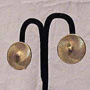 SALE 50%Off~Vintage Signed EMJ Emmons Clip Golden Spiral Earrings