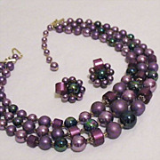 SALE 50% OFF~Vintage Necklace & Earrings Set Rich Lavender & Black Peacock Beaded