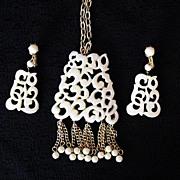 SALE 50% OFF~Unusual Vintage Faux Ivory Pendant Tassel Necklace & Earrings Set