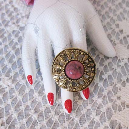 50% OFF~Fabulous Vintage Mid Century Statement Ring Glass Coral Stone