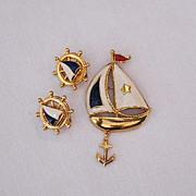 SALE 50% OFF~Fabulous Ship Ahoy Signed Avon Brooch & Earrings Set Sailboat~Unworn