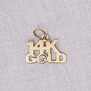 Fun Vintage 14K Gold Charm Diamond Chip