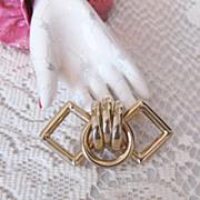 Chic Vintage Interlocking Goldtone Metal Brooch Circle & Diamond Shape