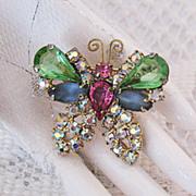 Amazing Huge Rhinestones Satin Glass Butterfly Brooch