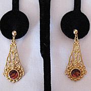 SALE 50% OFF~Vintage Victorian Revival Pierced Earrings Glass Amber Stone