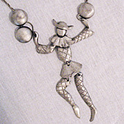 SALE Rare Vintage Polcini Faceless Pierrot Clown Articulated Necklace