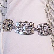 SALE Rare Greek Goddess Sterling Silver Arts & Crafts Bracelet