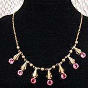 SALE 50% OFF~Vintage Signed Amco 10K GF Pink Rhinestone Necklace