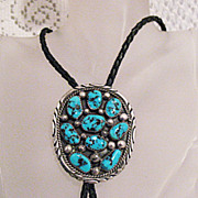 SALE Signed Tommy Moore Navajo Indian Sterling Bola Tie Robin Egg Blue Turquoise