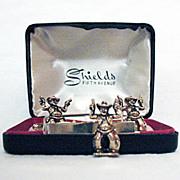 SOLD 50% OFF~Rare Vintage Shields Figural Cowboy Tie Bar and Cuff Link Set Original Box