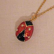 SALE 50% Off~Vintage Ladybug Egg Pendant Necklace Enameling Australian Rhinestones