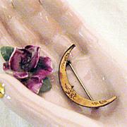 SALE Victorian Crescent Moon Pin Brooch