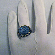 SOLD Unusual Vintage Signed Park Lane Black Opal Art Glass Ring