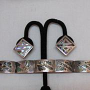 SALE Vintage Sterling Silver Abalone Inlay Bracelet Earrings Hallmarked JP
