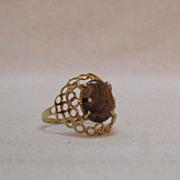 SALE Feminine Vintage 14K Gold Ring Natural Matrix Tigers Eye