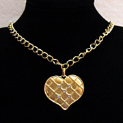 SALE Vintage Heart Pendant Necklace Sparkling Rhinestones