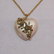 SALE Pearlized Lucite Puff Heart Floral Pendant Necklace