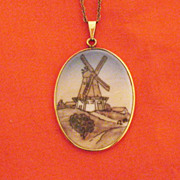 SALE Fine Vintage Hand Painted Denmark B G Porcelain Necklace Pendant