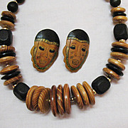 SOLD Vintage  Wooden Tribal Necklace Pierced Earrings Set