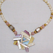 SALE Vintage Mother of Pearl Abstract Pendant Lavaliere Necklace
