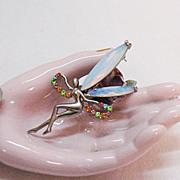SALE Amazing Vintage Glass Opal Vintage Fairy Brooch/Pin