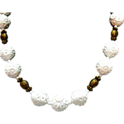 SALE Vintage Molded Plastic Flower Brass Beaded Necklace