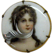 SALE Antique Victorian Miniature Painted Portrait Brooch on Porcelain