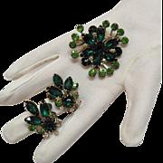 Vintage Emerald Green Rhinestone Brooch & Earrings Set