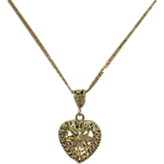 SOLD Signed ARR 14K Gold Italy Filigree Heart Necklace