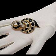 Diamond Back Enameled & Rhinestone Snake Brooch/Pin