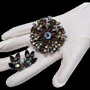 Amazing Vintage Plum Rhinestone Brooch & Earrings Set Art Glass Stones