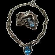 SALE One of a Kind Vintage Sterling Silver Topaz Necklace & Bracelet Set~106 grams!