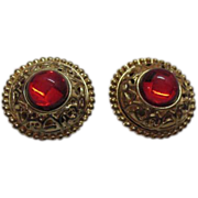 SALE Etruscan Gold Plated Red Poured Glass Clip Earrings