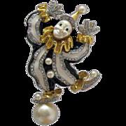 SALE KJL Kenneth Jay Lane Balancing Clown Brooch/Pin