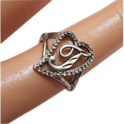 Vintage Sterling Silver Initial T Ring