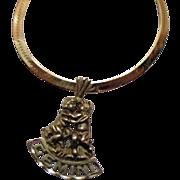 Vintage 14k Gold Gemini Twins Pendant Necklace