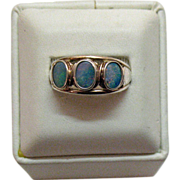 SALE Vintage Opal & Sterling Silver Band Style Ring~Size 10