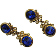SALE Glamorous Vintage Royal Blue Rivoli Rhinestone Clip Earrings