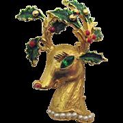 SALE Signed Hattie Carnegie Vintage Christmas Reindeer Brooch