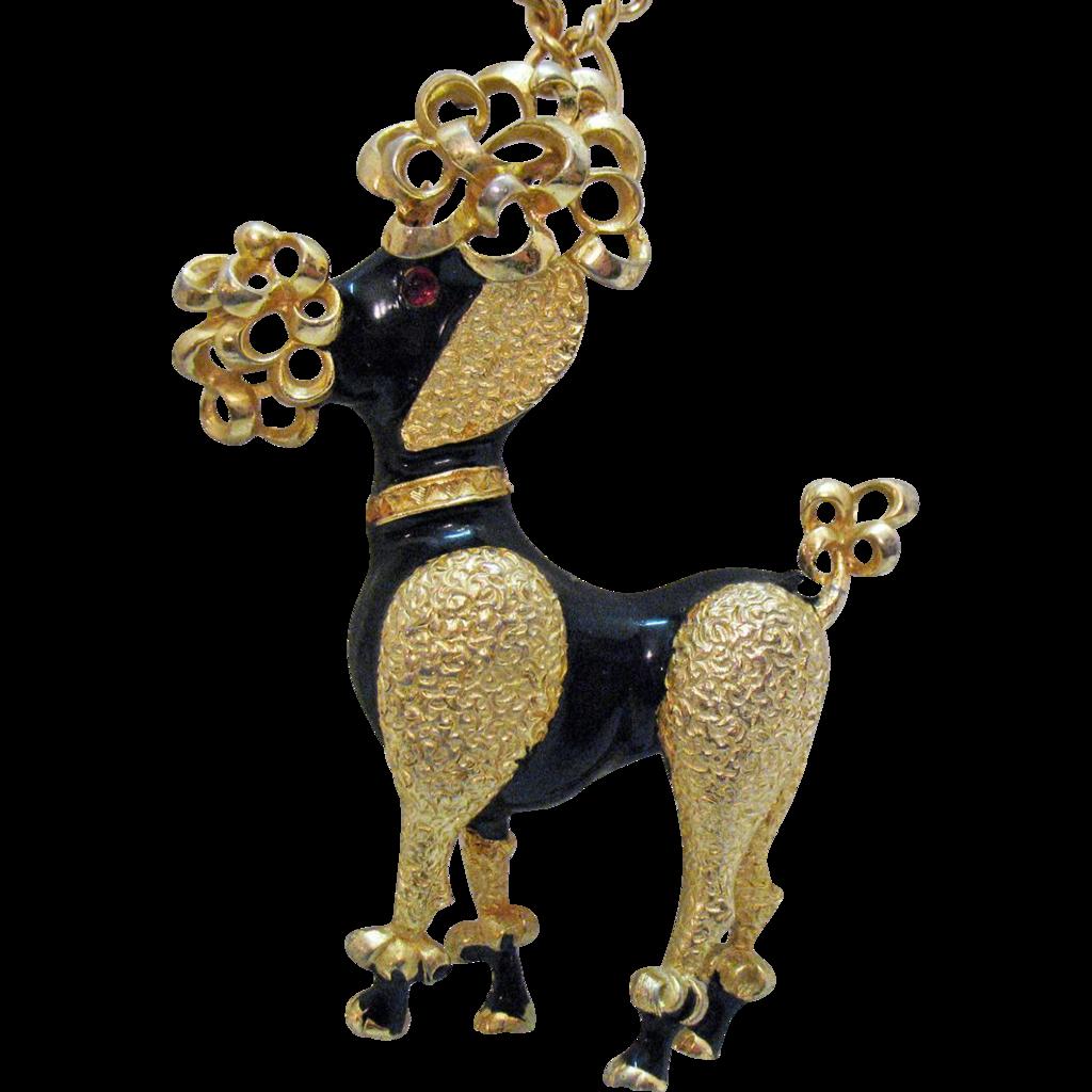 vintage poodle pendant necklace