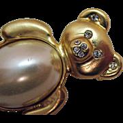 Vintage Golden White Faux Pearl Teddy Bear Brooch/Pin