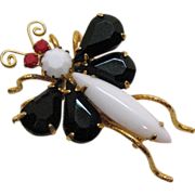 Vintage Whimsical Bug Brooch or Pin~Glass Stones